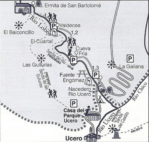 map of basic visit to the rio lobos canyon